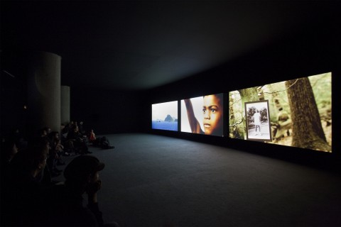 John Akomfrah, The Unfinished Conversation, 2012 - 3 channel HD video installation, colour, sound, 46 min - Courtesy the artist