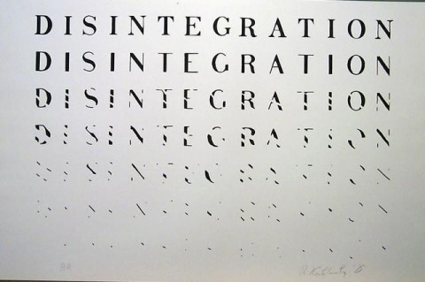 Richard Kostelanetz, Disintegration, from Word Prints, screenprint , 1975
