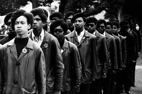 Panthers on parade at Free Huey rally in Defermery Park (named by the Panthers Bobby Hutton Park) in West Oakland. Photograph © Stephen Shames
