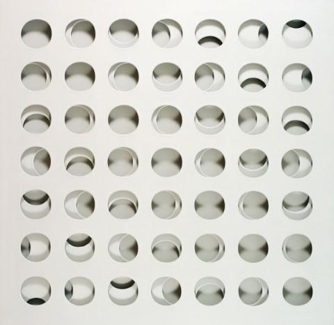 Paolo Scheggi, Intersuperficie curva bianca, 1966, (PS 0059), acrylic on overlapping canvas 133 x 133 x 6 cm, Private Collection