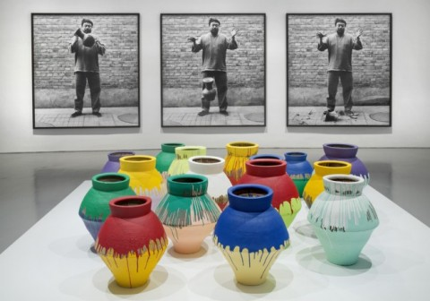 Ai Weiwei: According to What? From top to bottom: Dropping a Han Dynasty Urn, 1995/2009; Colored Vases, 2007-2010