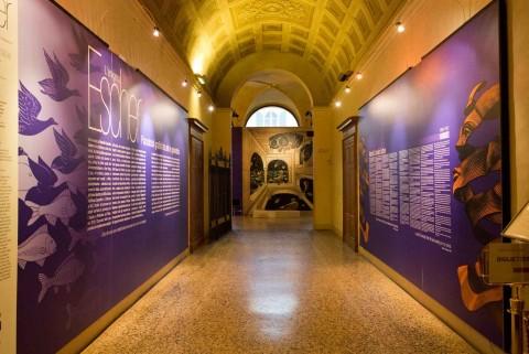L'enigma Escher - veduta della mostra presso Palazzo Magnani, Reggio Emilia 2013