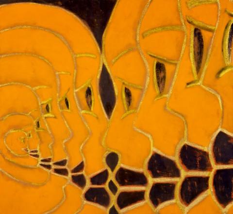 Francesco Clemente, Tandoori Satori (Meaning of Two), 2004 - tempera e olio su lino, cm 188x204,5