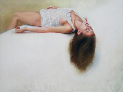 Jaclyn Santos, Immersion, 2013, olio su tela, 101.6x45.7 cm, courtesy l'artista