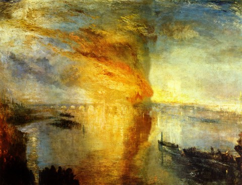 William Turner, The Burning of the Houses of Parliament, 16 October 1834, 1835