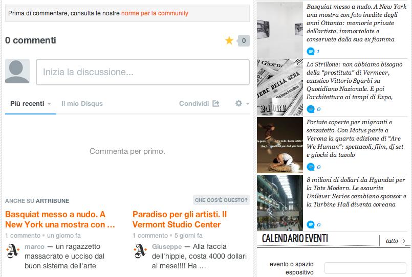 Anno nuovo, commenti nuovi. Su Artribune arriva Disqus, il software più usato per gestire le discussioni sul web. Con tante nuove funzionalità | Artribune