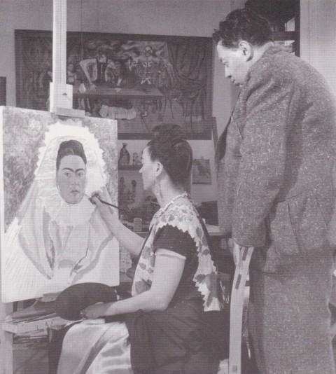 Bernard Silberstein, Frida dipinge il proprio autoritratto mentre Diego la osserva, Coyoacán, 1940 circa