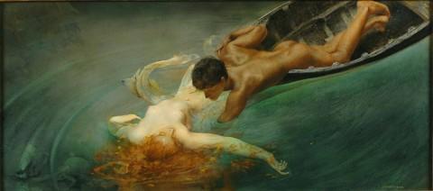 Giulio Aristide Sartorio, La Sirena, 893, olio su tela applicata su tavola. Torino, GAM - Galleria d'Arte Moderna e Contemporanea