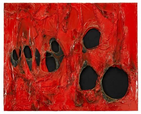 Alberto Burri, Rosso Plastica, 1963