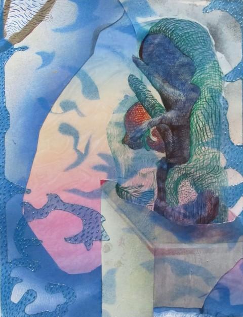 Alessandro Roma, Bozzetto-scultura (Mandragola), 2011, collage su carta, courtesy l'artista e Brand New Gallery Milano