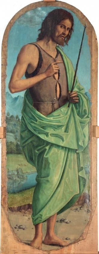 Cima Da Conegliano, Trittico di Navolè, 1510 ca, tempera e olio su tavola di pioppo - particolare lato sinistro, San Giovanni Battista