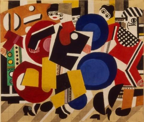 Fernand Léger, Progetto di sipario per Skating Rink, 1922 - grafite, acquerello e inchiostro India su carta, cm 40,50 x 48,00 - Dansmuseet Stockholm - © Dansmuseet – Musée Rolf de Maré Stockholm
