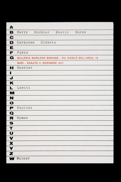 Primo invito della Galleria Bonomo, 1971