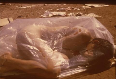 Regina Jose Galindo, (We don't lose anything by being born), 2000