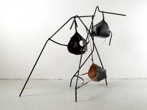Tatiana Trouvé, Untitled, 2007. Leather, black epoxy paint, metal, 187 x 235 x 84 cm