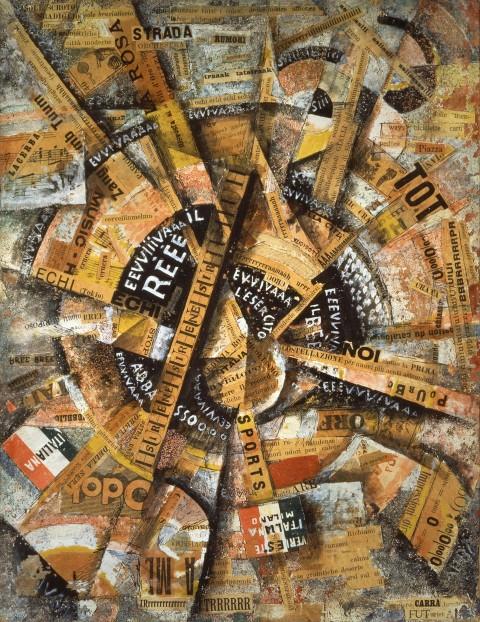 Carlo Carrà, Manifestazione Interventista, 1914 - coll. Gianni Mattioli - Peggy Guggenheim Collection, Venezia - Photo: Courtesy Solomon R. Guggenheim Foundation, New York