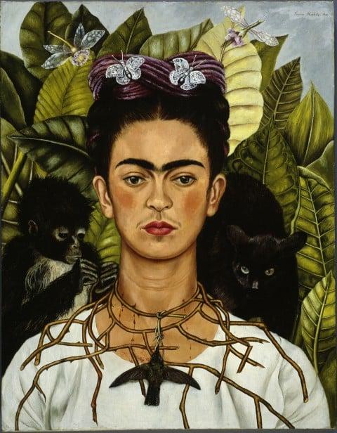Frida Kahlo, Autoritratto con collana di spine, 1940 - Olio su tela, cm 63,5 x 49,5 - Harry Ransom Center, Austin - © Banco de México Diego Rivera & Frida Kahlo Museums Trust, México D.F. by SIAE 2014