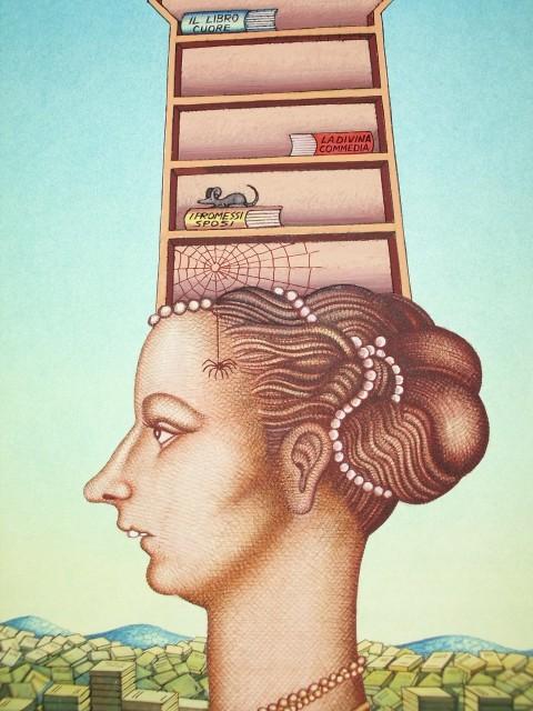 Giuseppe Coco, L'Italia colta, 1990 - tempera su carta e inchiostro, 31,5x44 cm - Collezione Eredi Coco
