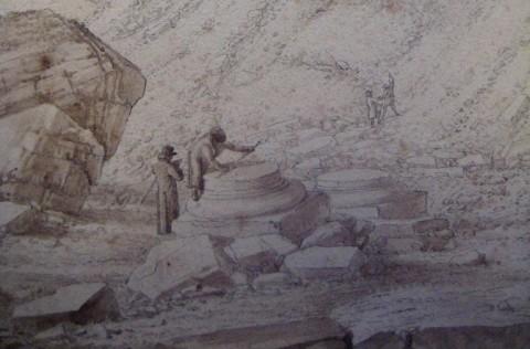 Studiosi alle cave, intenti a misurare antiche basi (particolare di un disegno di Saverio Salvioni, inizio XIX sec., Massa, Archivio di Stato)