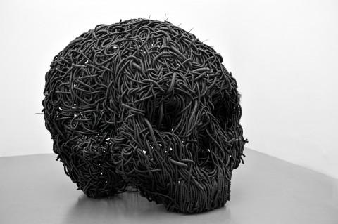 Paolo Grassino, Ciò che resta, 2012, tubo corrugato e ferro