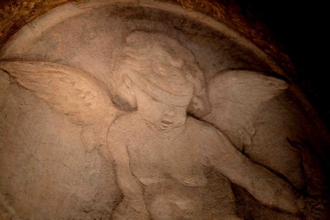 Carlo Cignani, Cupido bendato seduto sul globo terrestre, 1678-1679, affresco strappato e trasportato su tela, cm 138x104x4, Parma, Galleria Nazionale