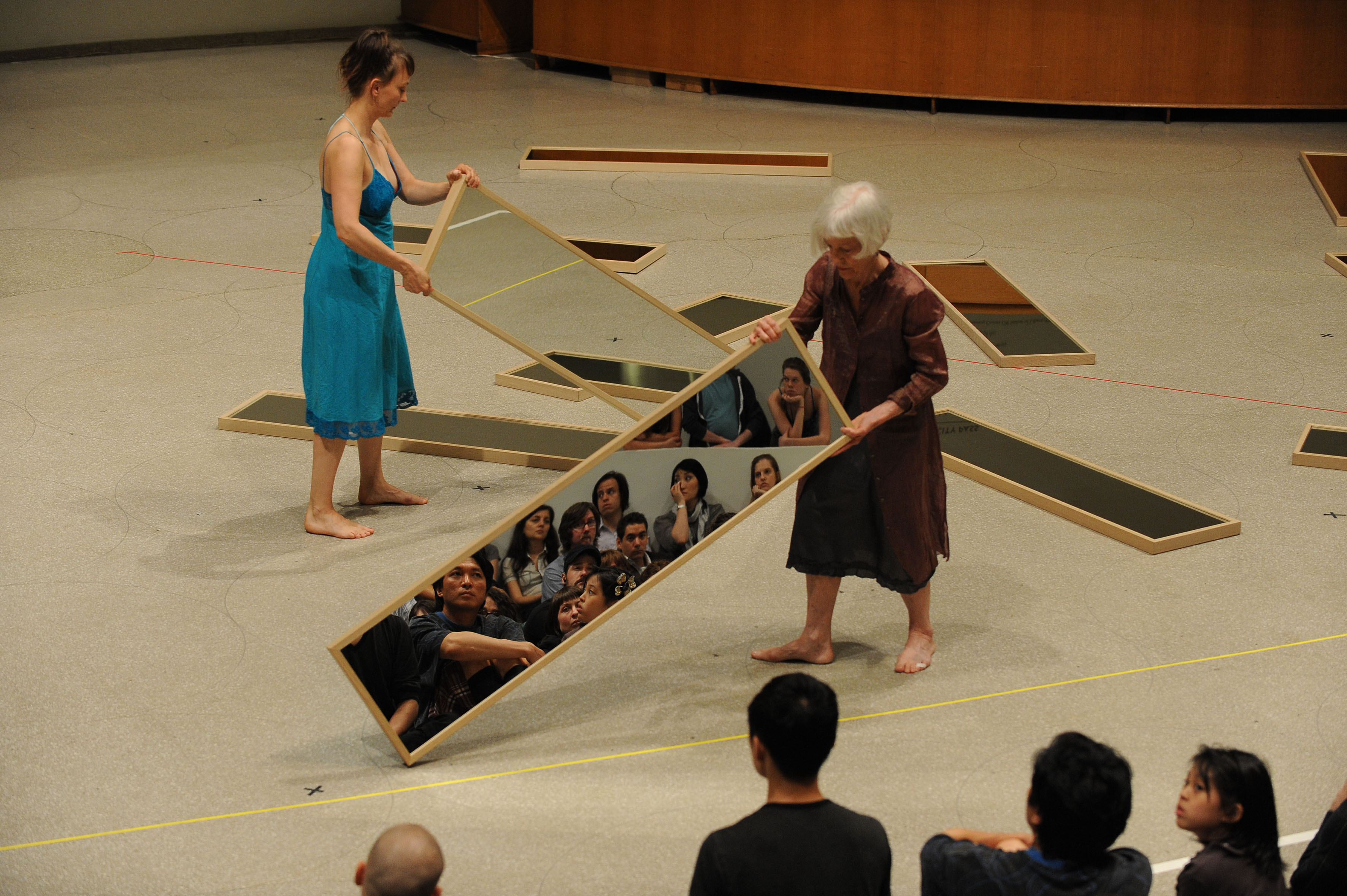 Joan Jonas, Mirror Piece I Reconfigured (1969/2010), Performance: The Guggenheim Museum, New York, 2010, Photo: Enid Alvares, Courtesy the artist