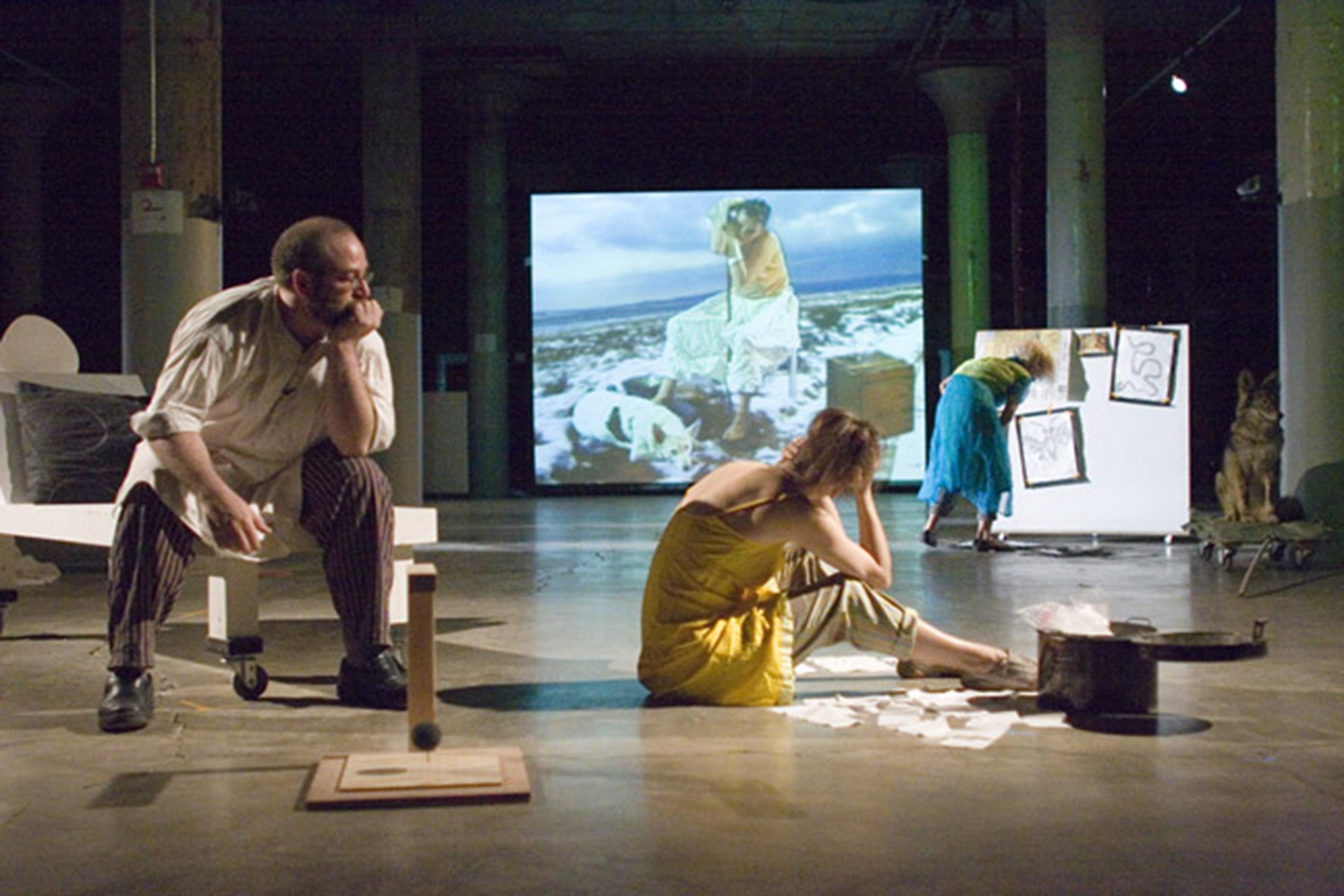 Joan Jonas, The Shape, the Scent, the Feel of Things (2005), Performance: Dia Beacon, New York, 2005, Photo: Paula Court, Courtesy the artist