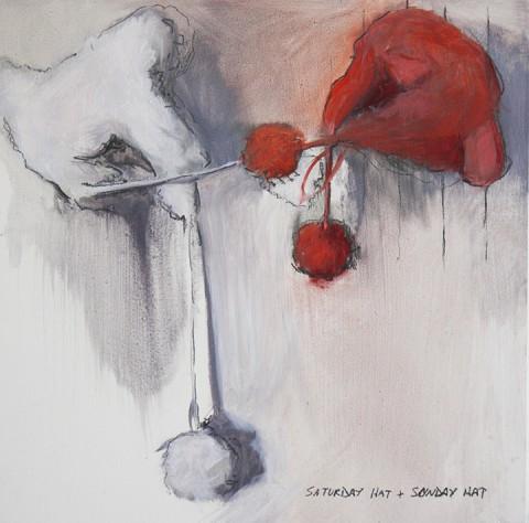 Beatrice Scaccia, Eve's hats (fighting on the wall), 2014 - olio e matita su tavola, 15x15 cm