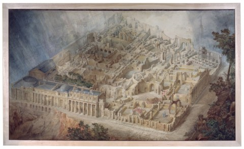 Ruin Lust. Joseph Gandy, vista aerea della sezione della Bank of England da sud-est, 1830. Courtesy Trustees of Sir John Soane's Museum e Tate, Londra