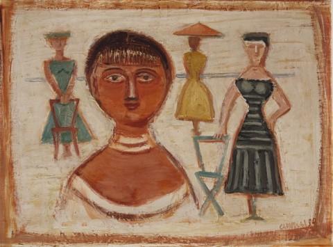 Massimo Campigli, Donne sulla spiaggia, 1950, olio su tela, cm. 41 x 55. Collezione Bonuccelli, Lido di Camaiore