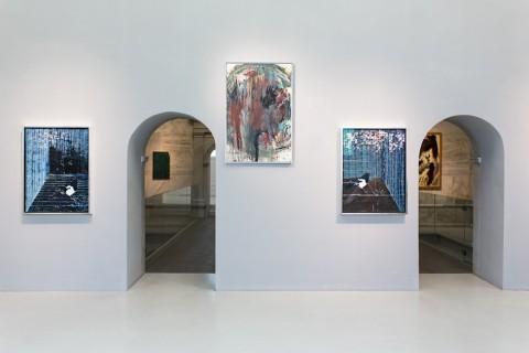 Damien Hirst e Arnulf Rainer, vista parziale della mostra. Courtesy AR Museum, 2014; Foto Andreas Balon
