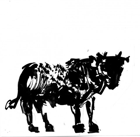 William Kentridge, Sketch for Toro (2013), exploratory drawing for Triumphs and Laments, ink on paper. Image courtesy of the artist and TEVERETERNO. Photo by Thys Dullaart.