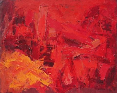 Luigi Montanarini, Composizione, 1957, olio su tela, cm. 80 x 100 - Collezione Barberi, Camaiore