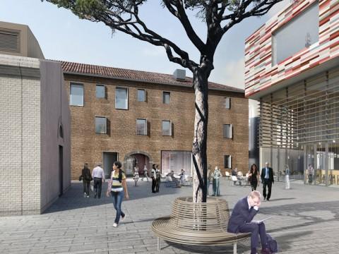 M9, rendering, museum piazza – Rendering del progetto M9, edificio museale e piazzetta laterale. Author: Sauerbruch Hutton © Sauerbruch Hutton