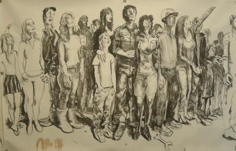 Alessandro Bazan, Popolo, carboncino su carta, 2014 - 300x400 cm