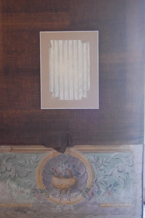 """Stefano Cumia, """"STRIATO #5"""" (SCP – ST WBWBWBWBW 6K), 2014  Tempera all'uovo, olio, gesso pigmentato su lino  80 x 60 cm"""