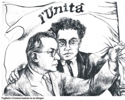Gramsci e Togliatti - l'Unità 6 ottobre 2012 - un disegno a corredo di un articolo di Bruno Gravagnuolo