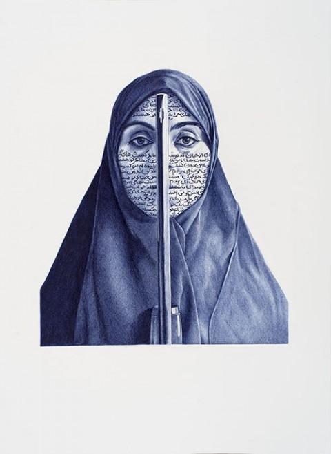 Giuseppe Stampone, Ritratti - Bic Data Blue, Shirin Neshat, 2014
