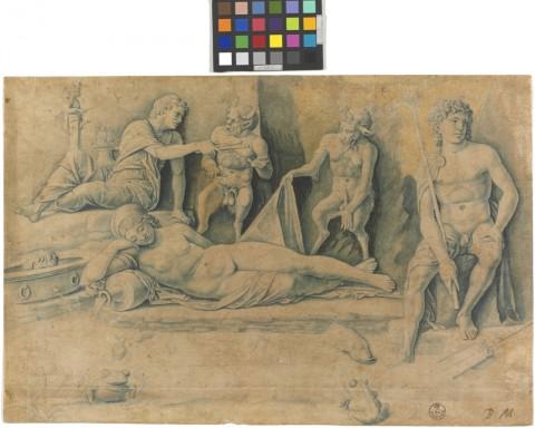 F. Benedetto Montagna, Scena mitologica, 1495 - 1500 ca. Penna, inchiostro azzurro e nero. Firenze, Gabinetto disegni e stampe degli Uffizi, inv. 14589.