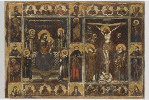PUCCIO CAPANNA, Madonna col Bambino e angeli, Crocifissione, tempera su pergamena, Perugia, Galleria Nazionale dell'Umbria;