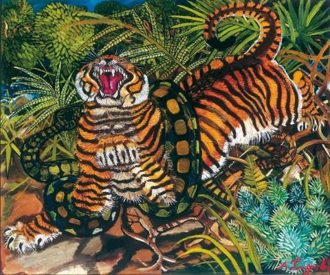 Antonio Ligabue - Tigre assalita dal serpente