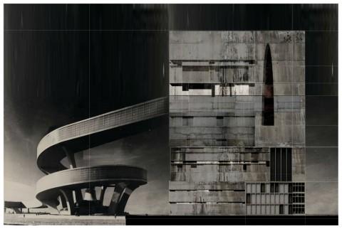 Beniamino Servino, Torre tozza analoga con adduzione nerviana, 2014, fotomontaggio digitale, 47,48 x 31,89 cm