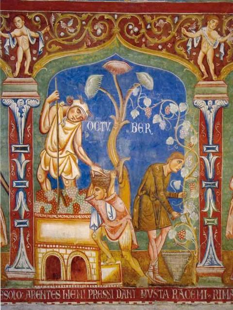 Roma Basilica dei Santi Quattro Coronati - Aula Gotica, dettaglio affreschi