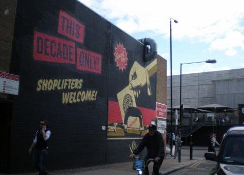 Shepard Fairey, Shoplifters welcome, Chance Street, Shoreditch London, 2012