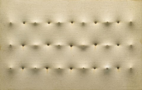 Enrico Castellani – Untitled (White Surface) (Senza titolo [Superficie bianca]),1959. Private collection, Milan © Enrico Castellani, by SIAE 2014