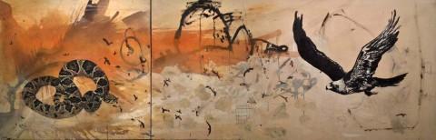 Manolo Cocho, L'aquila e il serpente, 2011, olio su tela