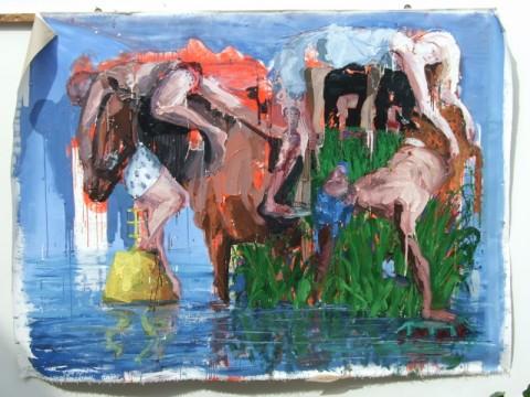 Alessandro Passaro - Nodo karmico angolare 145x200 olio su tela 2014