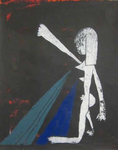 Cedar Lewisohn, Donna che allatta. Incisione manuale su legno stampata su carta con inchiostro e pennello spray. 2012. 1524cm x 1219cm