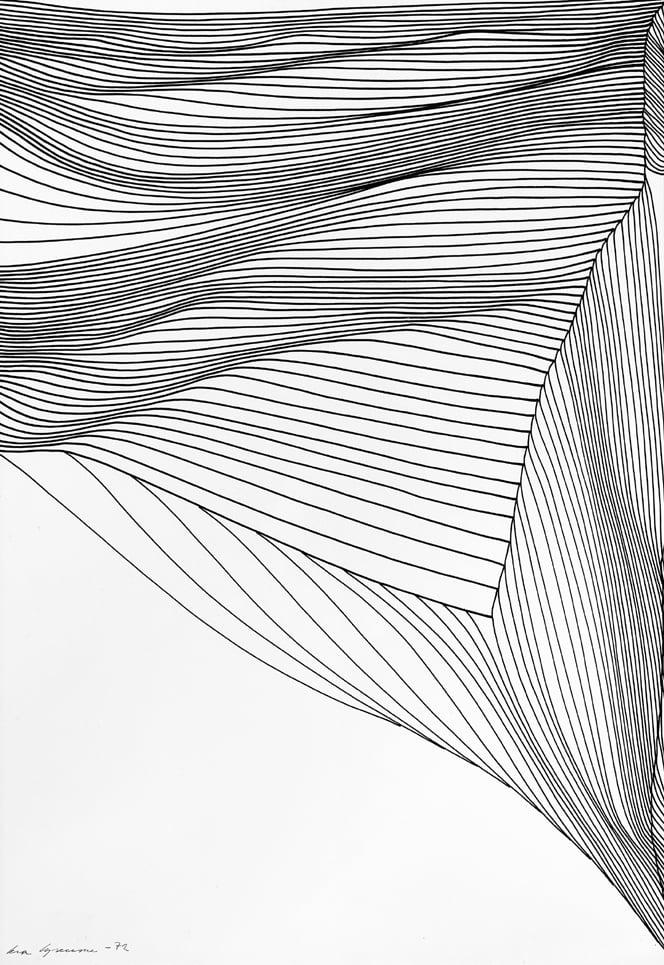 Eva Sorensen, Untitled, 1972; cm 50 x 35, inchiostro di china su carta