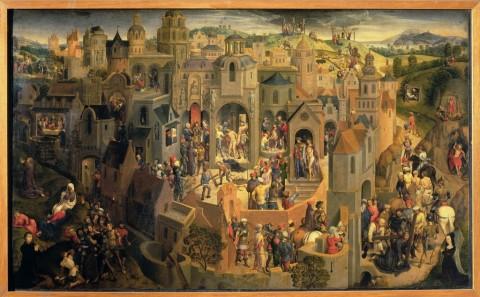 Hans Memling, Passione di Cristo per Tommaso Portinari, 1470, olio su tavola, 54,9 x 90,1 cm, Torino, Galleria Sabauda (in mostra fino al 15 novembre)